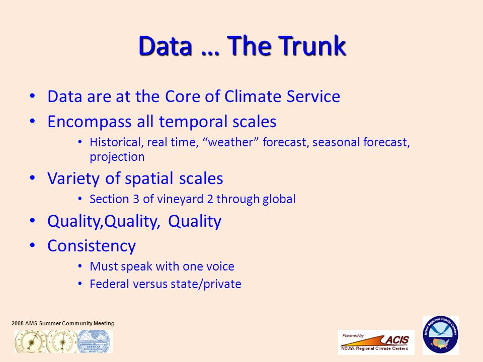 "2008 AMS Summer Community Meeting Data … The Trunk Data are at the Core of Climate Service Encompass all temporal scales Historical, real time, ""weath"