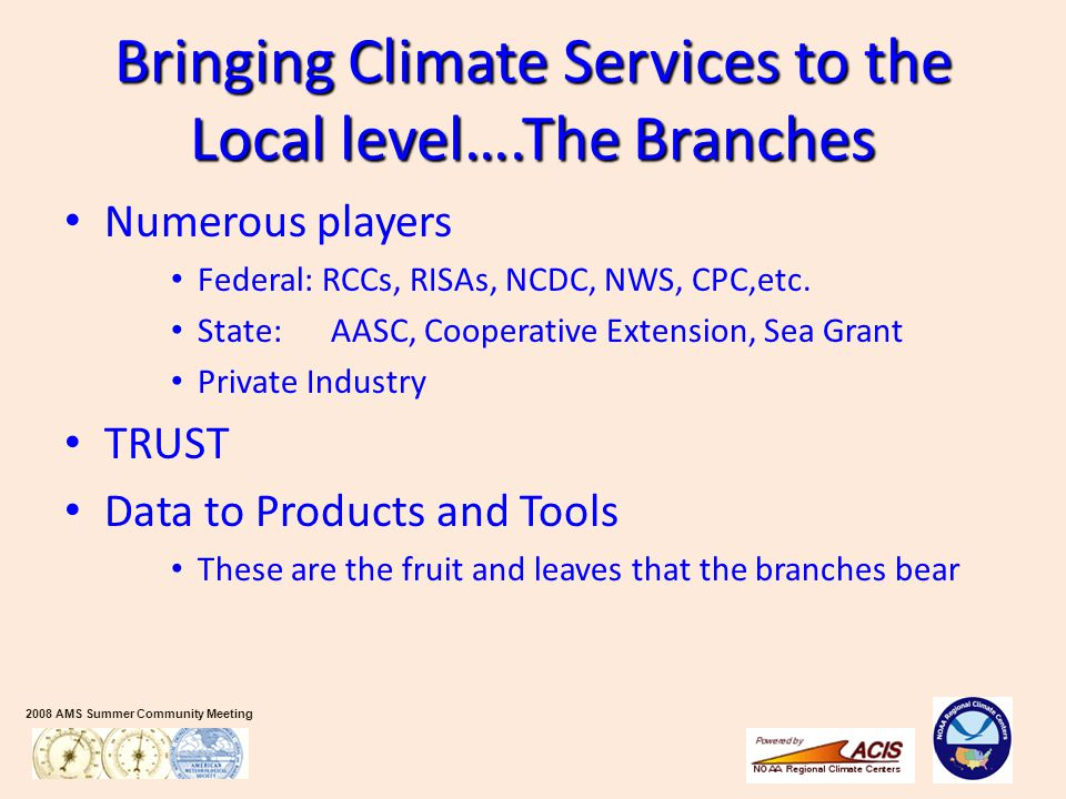 2008 AMS Summer Community Meeting Bringing Climate Services to the Local level….The Branches Numerous players Federal: RCCs, RISAs, NCDC, NWS, CPC,etc