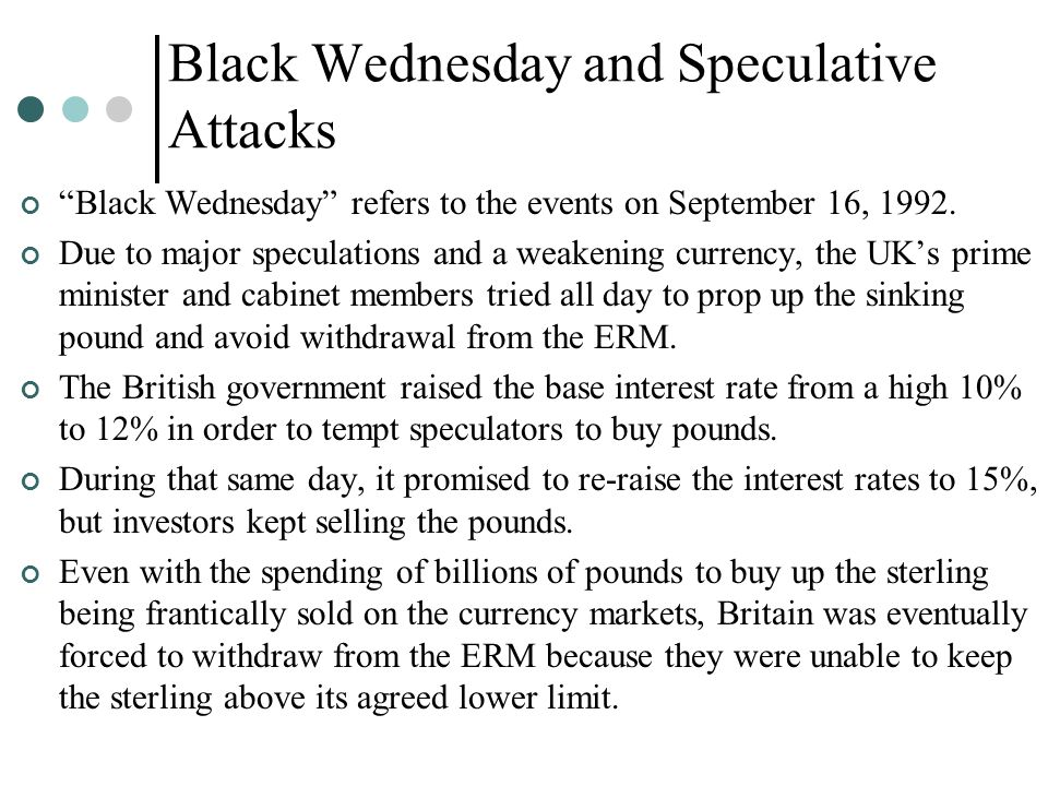 "Black Wednesday and Speculative Attacks ""Black Wednesday"" refers to the events on September 16, 1992. Due to major speculations and a weakening curren"