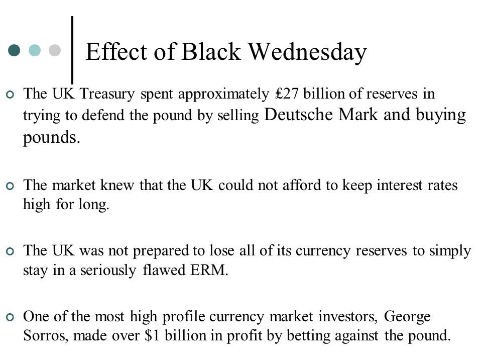 Effect of Black Wednesday The UK Treasury spent approximately ₤27 billion of reserves in trying to defend the pound by selling Deutsche Mark and buyin