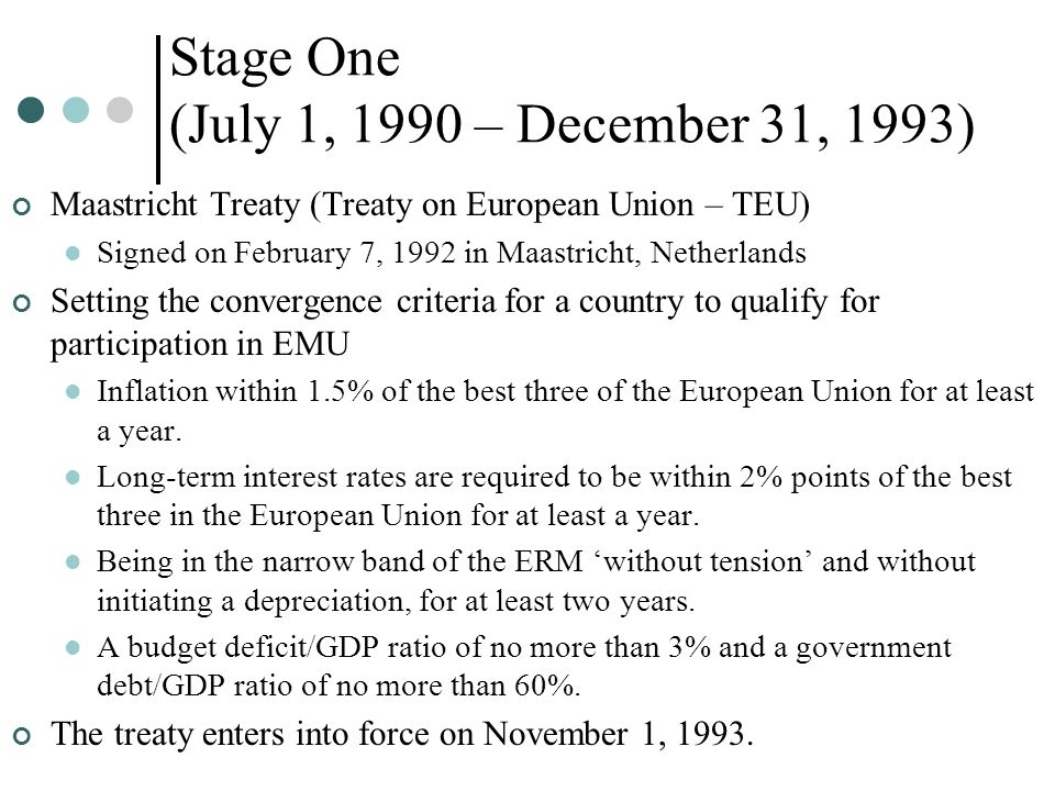 Stage One (July 1, 1990 – December 31, 1993) Maastricht Treaty (Treaty on European Union – TEU) Signed on February 7, 1992 in Maastricht, Netherlands