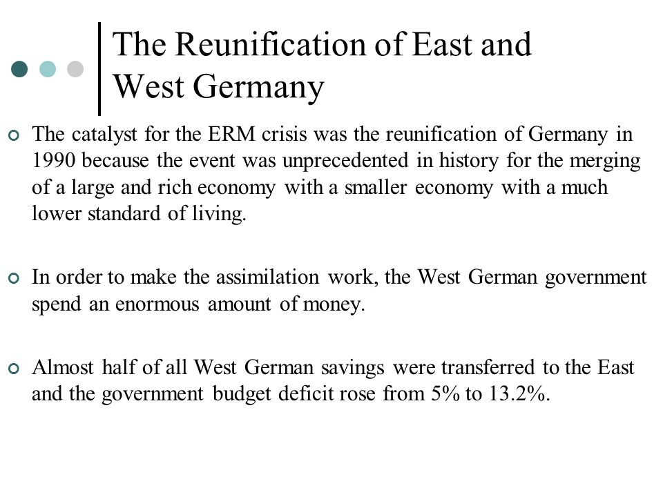 The Reunification of East and West Germany The catalyst for the ERM crisis was the reunification of Germany in 1990 because the event was unprecedente