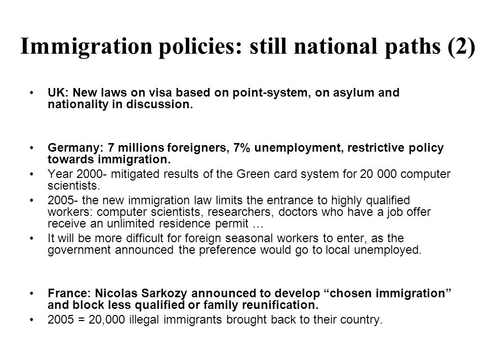 Immigration policies: still national paths (2) UK: New laws on visa based on point-system, on asylum and nationality in discussion.