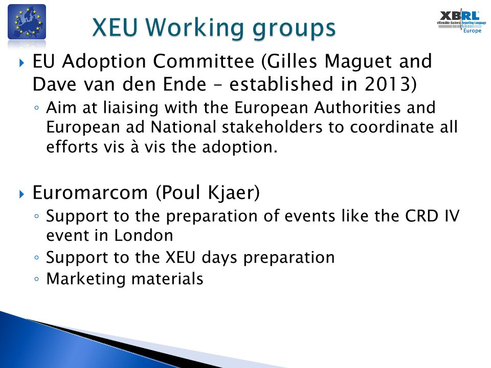  EU Adoption Committee (Gilles Maguet and Dave van den Ende – established in 2013) ◦ Aim at liaising with the European Authorities and European ad Na