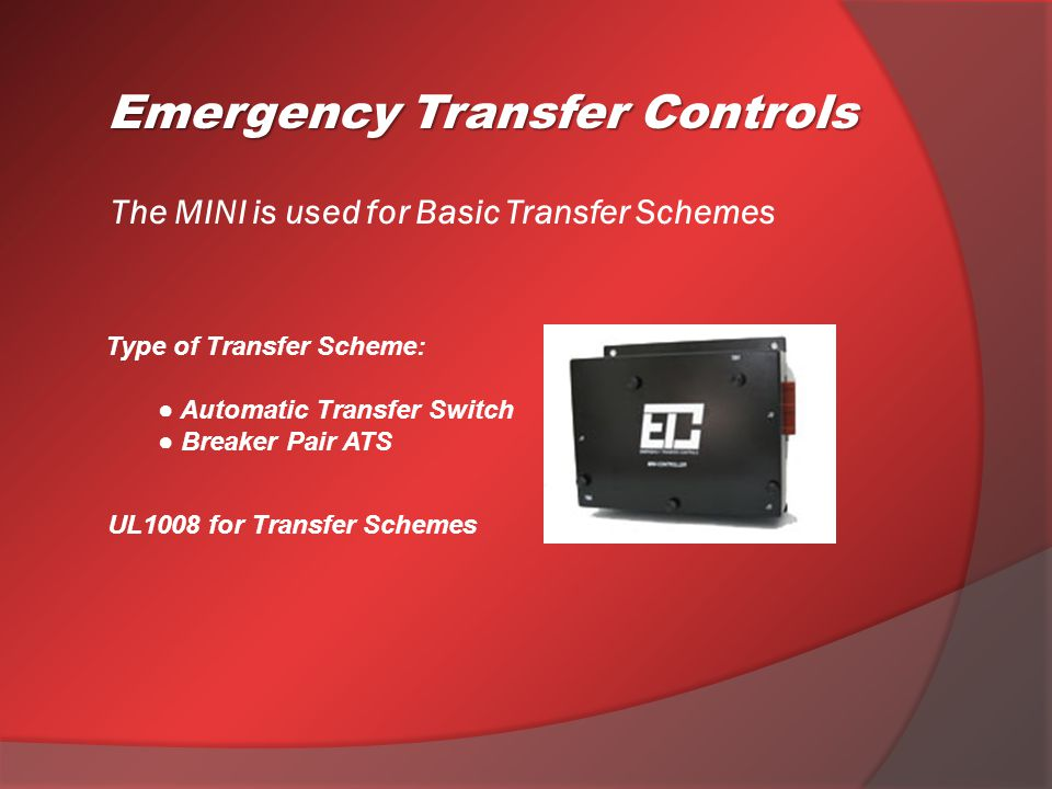 Network Accessories: Emergency Transfer Controls I/O Module Features:  Monitor/Test devices remotely from the SCADA Engine status points Monitor & Test Old ATSs Monitor devices or equipment  Standard RS485 Modbus RTU Protocol  LAN Networking or Communication Line(s) RS485 Communication PCB:  Standard Modbus RTU Protocol  Easily plugs into the PMCP Controller