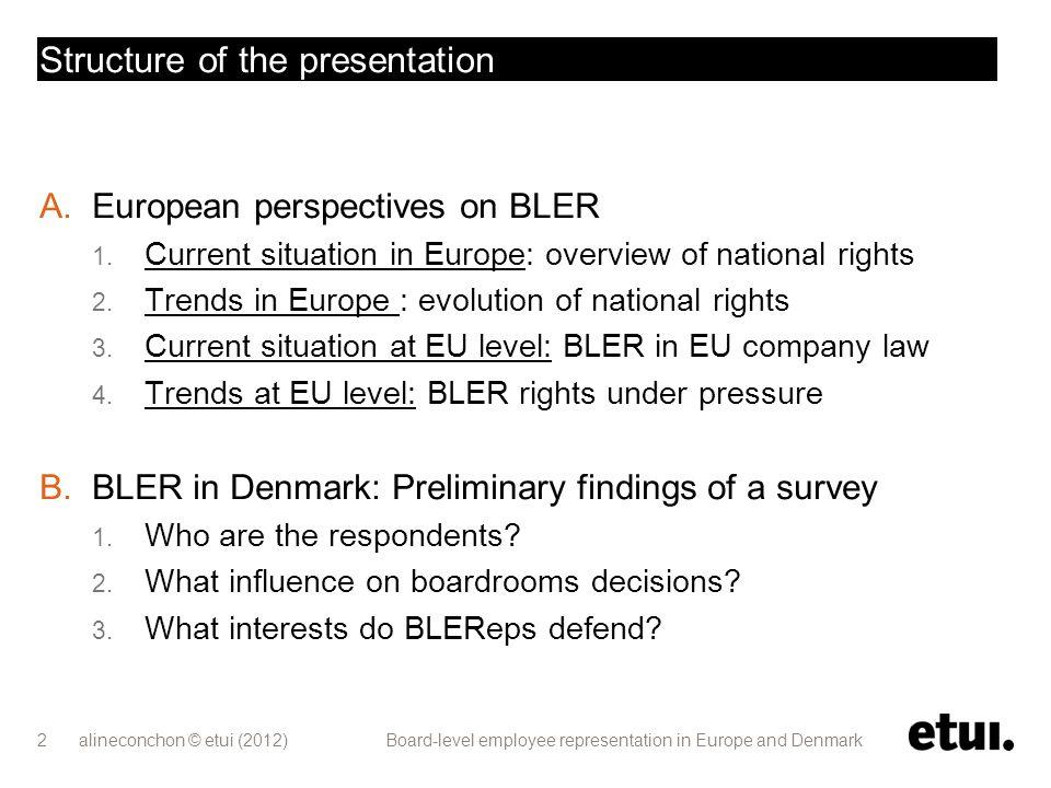Board-level employee representation E UROPEAN PERSPECTIVES