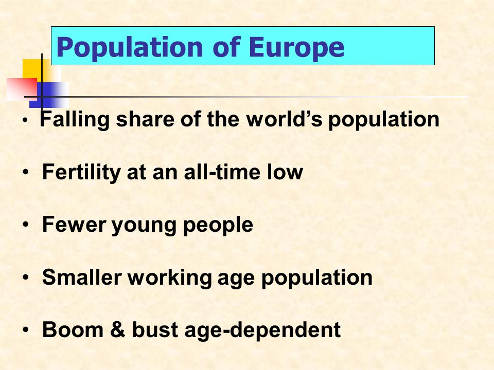 Falling share of the world's population Fertility at an all-time low Fewer young people Smaller working age population Boom & bust age-dependent Population of Europe