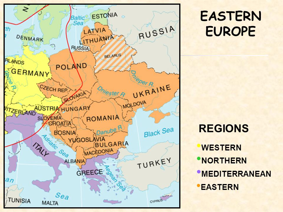REGIONS WESTERN NORTHERN MEDITERRANEAN EASTERN EUROPE