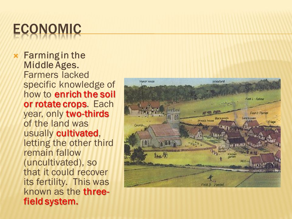 enrich the soil or rotate crops two-thirds cultivated three- field system.  Farming in the Middle Ages. Farmers lacked specific knowledge of how to e