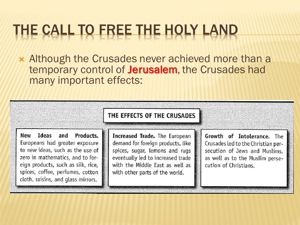 Jerusalem  Although the Crusades never achieved more than a temporary control of Jerusalem, the Crusades had many important effects: