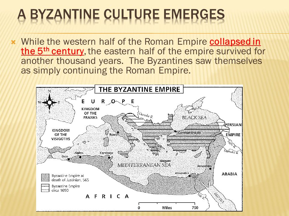  While the western half of the Roman Empire collapsed in the 5 th century, the eastern half of the empire survived for another thousand years. The By