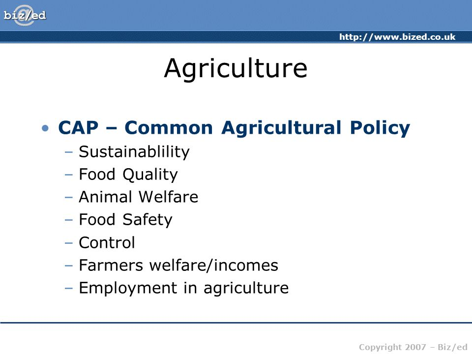 Copyright 2007 – Biz/ed Agriculture CAP – Common Agricultural Policy –Sustainablility –Food Quality –Animal Welfare –Food Safety –Control –Farmers welfare/incomes –Employment in agriculture