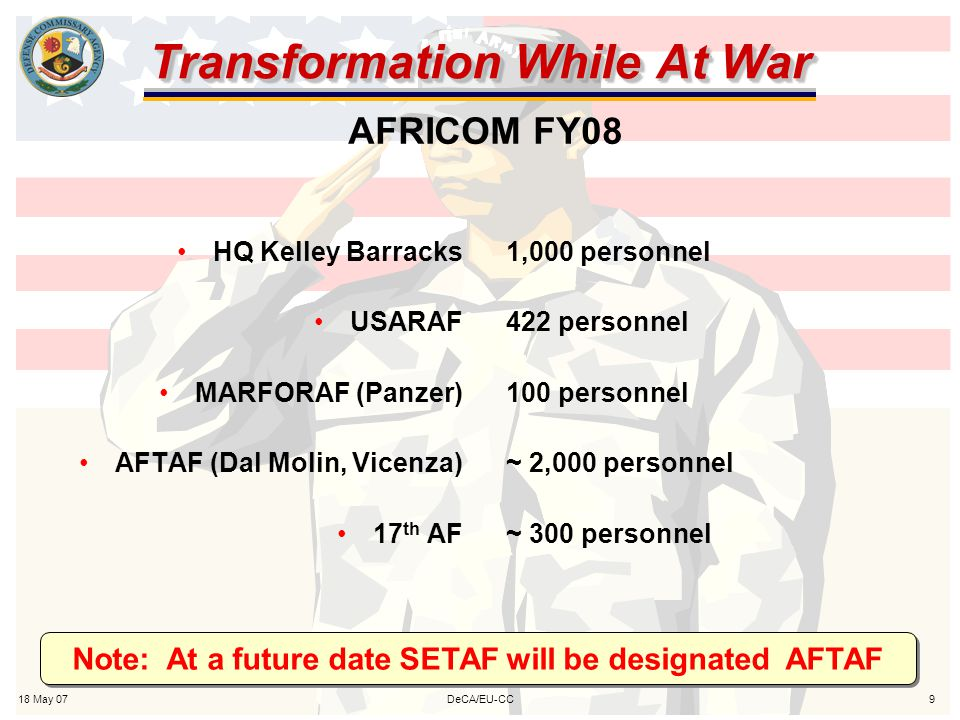 18 May 079DeCA/EU-CC Transformation While At War HQ Kelley Barracks USARAF MARFORAF (Panzer) AFTAF (Dal Molin, Vicenza) 17 th AF 1,000 personnel 422 personnel 100 personnel ~ 2,000 personnel ~ 300 personnel AFRICOM FY08 Note: At a future date SETAF will be designated AFTAF