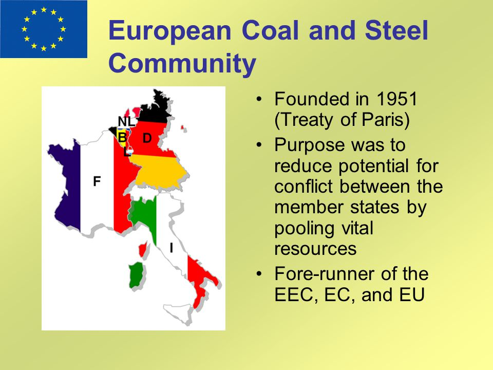 European Coal and Steel Community Founded in 1951 (Treaty of Paris) Purpose was to reduce potential for conflict between the member states by pooling