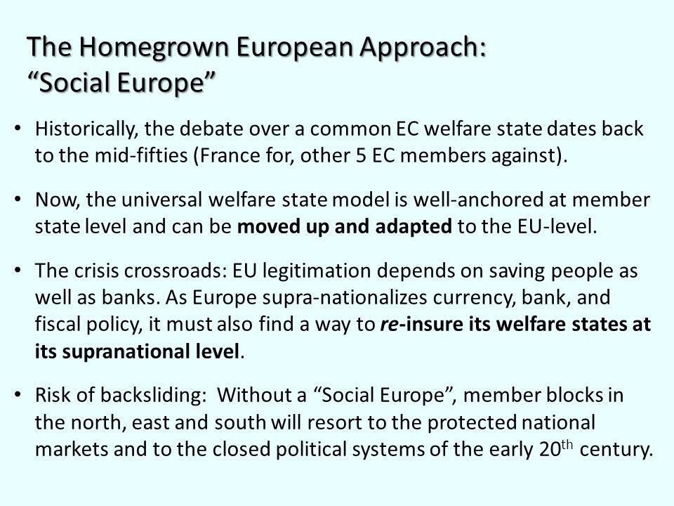 Historically, the debate over a common EC welfare state dates back to the mid-fifties (France for, other 5 EC members against).
