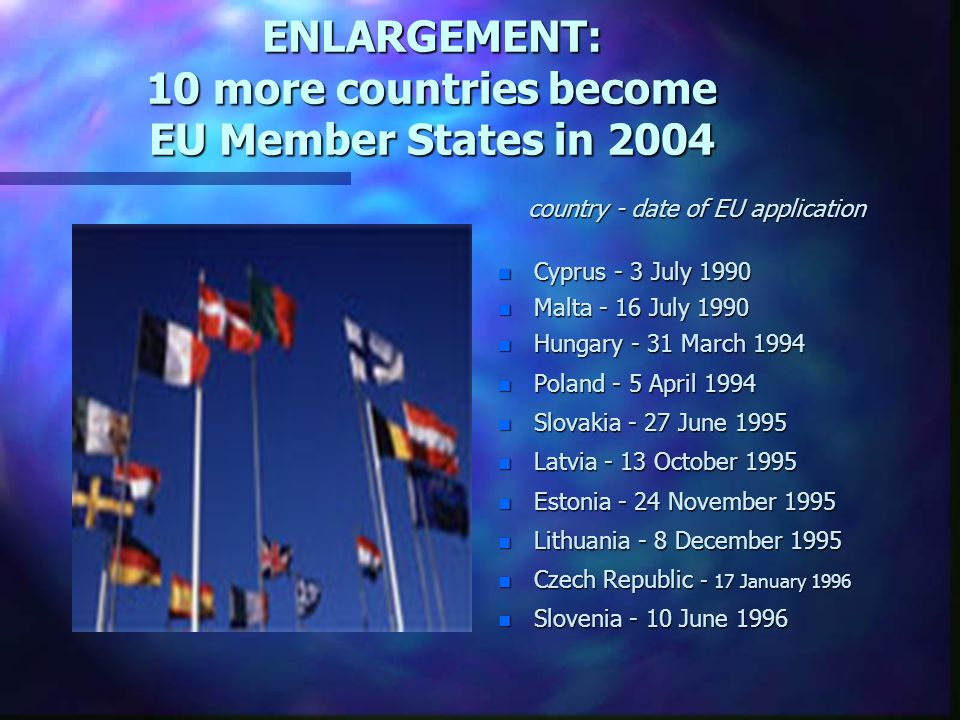 ENLARGEMENT: 10 more countries become EU Member States in 2004 country - date of EU application n Cyprus - 3 July 1990 n Malta - 16 July 1990 n Hungar