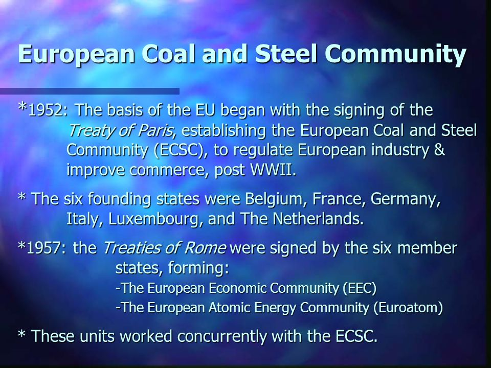 European Coal and Steel Community * 1952: The basis of the EU began with the signing of the Treaty of Paris, establishing the European Coal and Steel