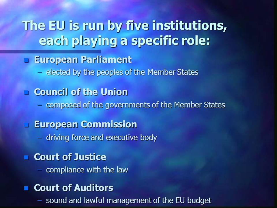 The EU is run by five institutions, each playing a specific role: n European Parliament –elected by the peoples of the Member States n Council of the