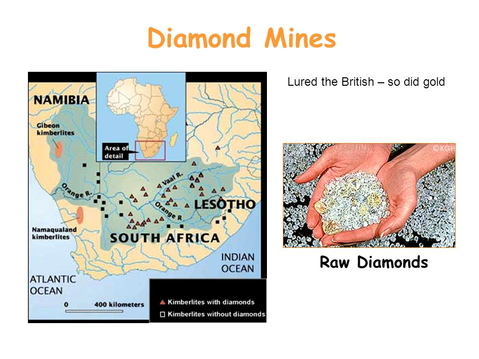 Diamond Mines Raw Diamonds Lured the British – so did gold