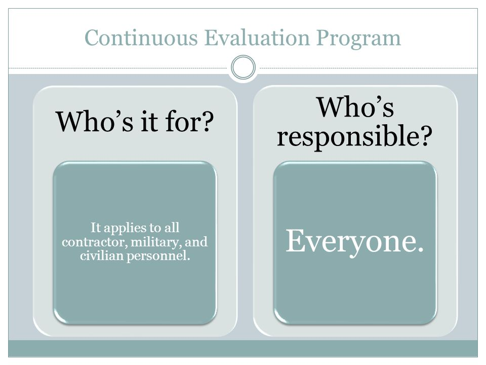 Continuous Evaluation Program Who's it for.