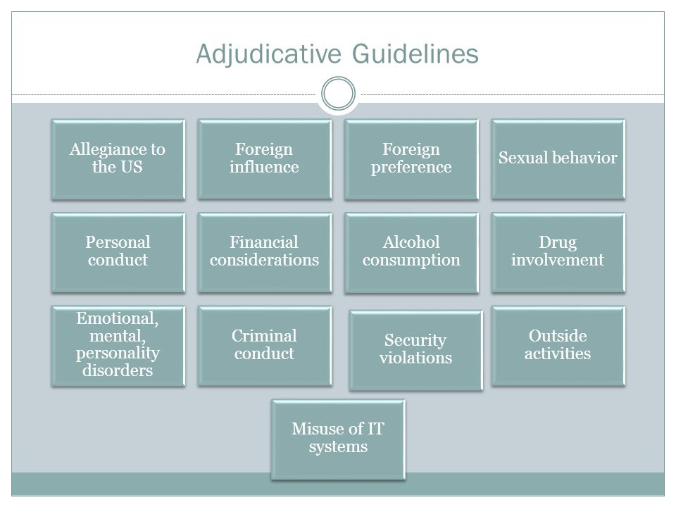 Adjudicative Guidelines Allegiance to the US Foreign influence Foreign preference Sexual behavior Personal conduct Financial considerations Alcohol consumption Drug involvement Emotional, mental, personality disorders Criminal conduct Security violations Outside activities Misuse of IT systems