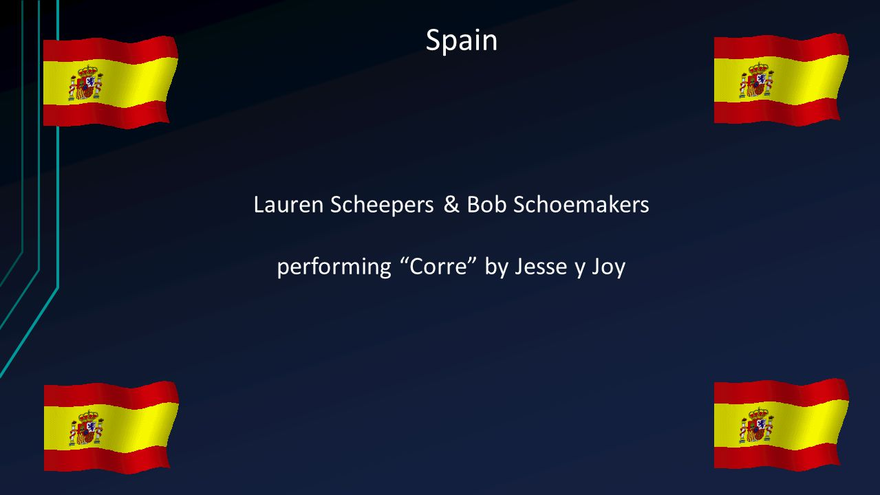 "Spain Lauren Scheepers & Bob Schoemakers performing ""Corre"" by Jesse y Joy"
