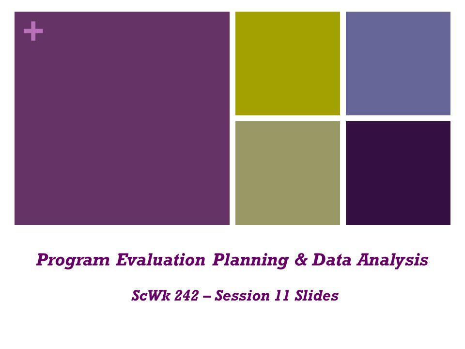 + Program Evaluation Planning & Data Analysis ScWk 242 – Session 11 Slides