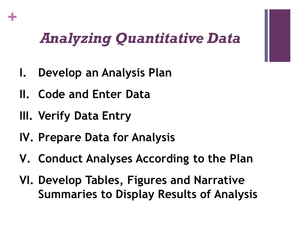 + Analyzing Quantitative Data I.Develop an Analysis Plan II.Code and Enter Data III.Verify Data Entry IV.Prepare Data for Analysis V.Conduct Analyses