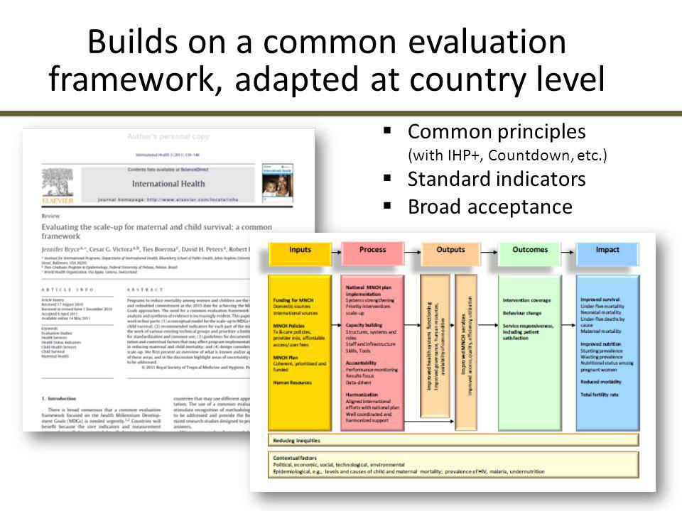 Builds on a common evaluation framework, adapted at country level  Common principles (with IHP+, Countdown, etc.)  Standard indicators  Broad accep