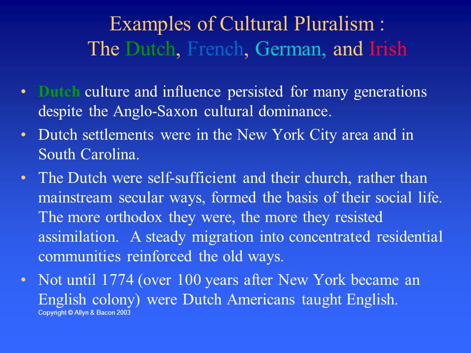 Examples of Cultural Pluralism : The Dutch, French, German, and Irish Dutch culture and influence persisted for many generations despite the Anglo-Saxon cultural dominance.