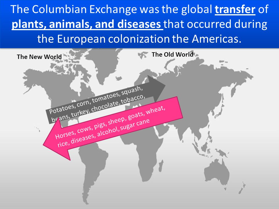The Columbian Exchange was the global transfer of plants, animals, and diseases that occurred during the European colonization the Americas. The New W
