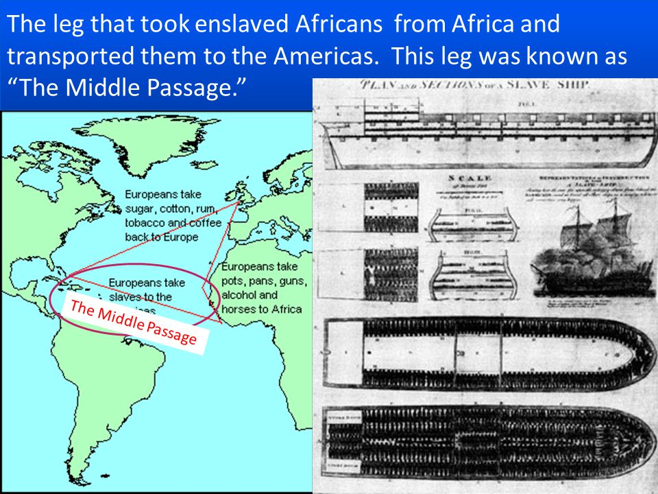 The leg that took enslaved Africans from Africa and transported them to the Americas.
