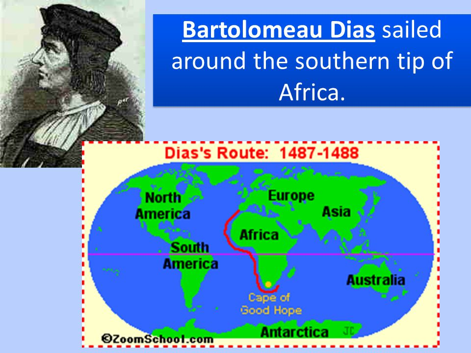 Bartolomeau Dias sailed around the southern tip of Africa.