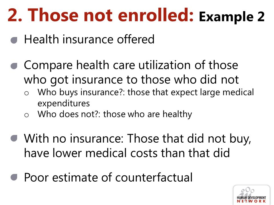 2. Those not enrolled: Example 2 With no insurance: Those that did not buy, have lower medical costs than that did Health insurance offered Compare he