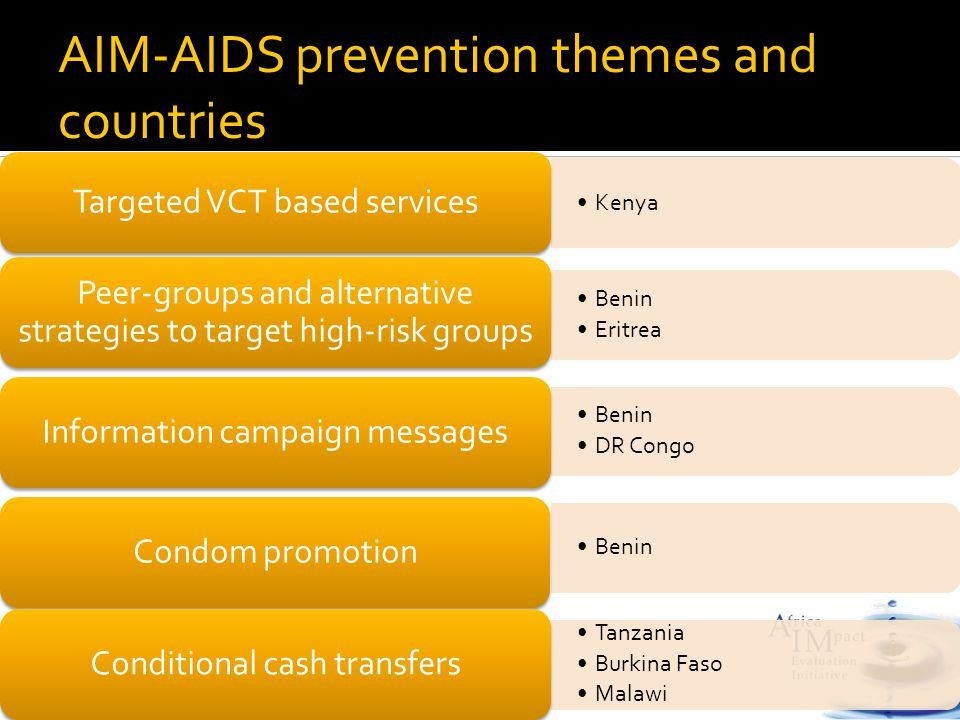 Kenya Targeted VCT based services Benin Eritrea Peer-groups and alternative strategies to target high-risk groups Benin DR Congo Information campaign messages Benin Condom promotion Tanzania Burkina Faso Malawi Conditional cash transfers AIM-AIDS prevention themes and countries
