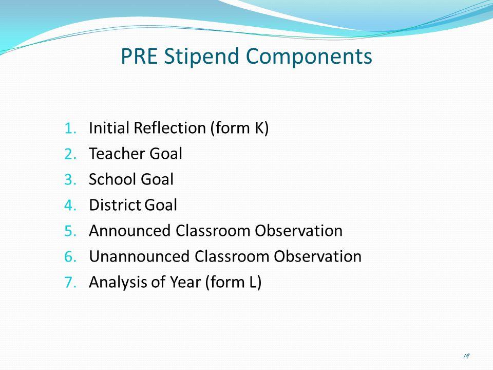 PRE Stipend Components 1. Initial Reflection (form K) 2. Teacher Goal 3. School Goal 4. District Goal 5. Announced Classroom Observation 6. Unannounce