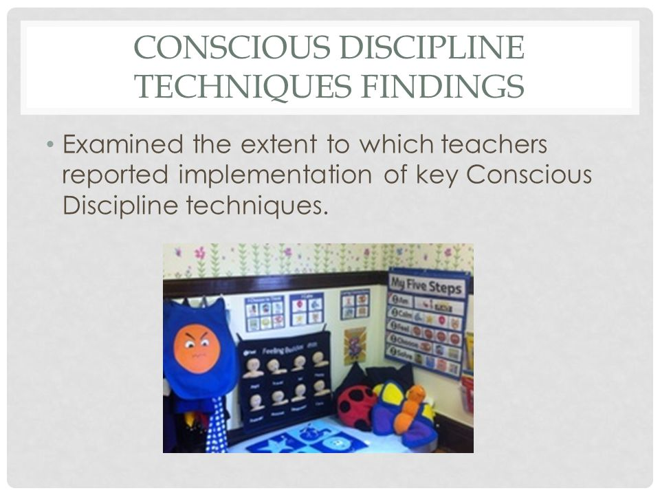 CONSCIOUS DISCIPLINE TECHNIQUES FINDINGS Examined the extent to which teachers reported implementation of key Conscious Discipline techniques.