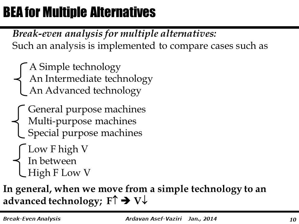 10 Ardavan Asef-Vaziri Jan., 2014Break-Even Analysis BEA for Multiple Alternatives Break-even analysis for multiple alternatives: Such an analysis is