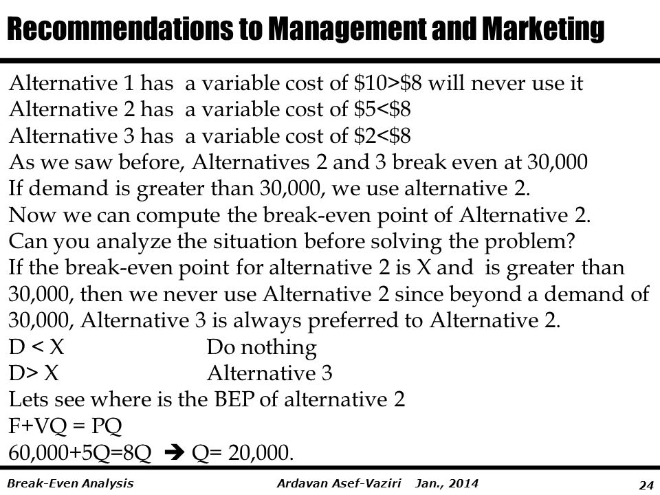 24 Ardavan Asef-Vaziri Jan., 2014Break-Even Analysis Alternative 1 has a variable cost of $10>$8 will never use it Alternative 2 has a variable cost of $5<$8 Alternative 3 has a variable cost of $2<$8 As we saw before, Alternatives 2 and 3 break even at 30,000 If demand is greater than 30,000, we use alternative 2.