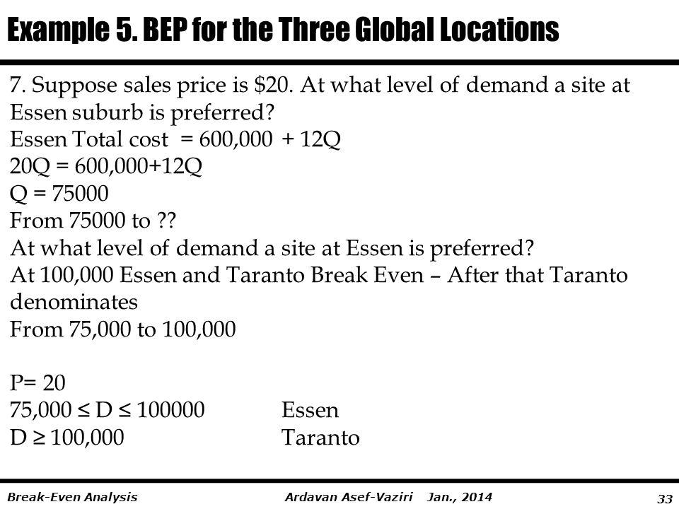 33 Ardavan Asef-Vaziri Jan., 2014Break-Even Analysis Example 5. BEP for the Three Global Locations 7. Suppose sales price is $20. At what level of dem