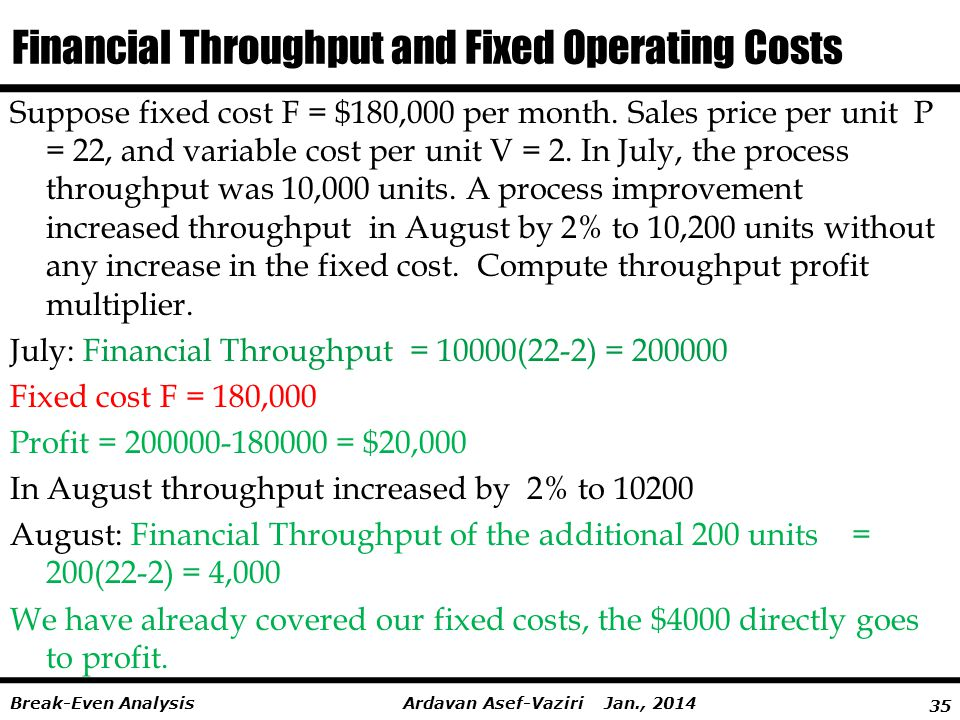 35 Ardavan Asef-Vaziri Jan., 2014Break-Even Analysis Financial Throughput and Fixed Operating Costs Suppose fixed cost F = $180,000 per month.