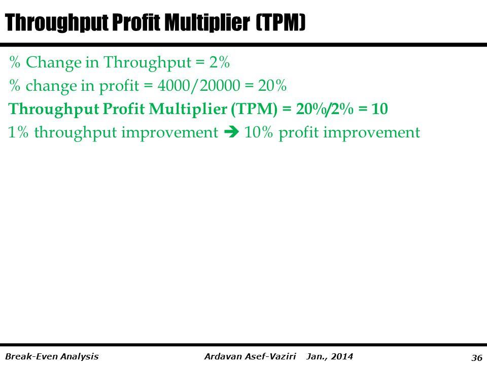 36 Ardavan Asef-Vaziri Jan., 2014Break-Even Analysis Throughput Profit Multiplier (TPM) % Change in Throughput = 2% % change in profit = 4000/20000 = 20% Throughput Profit Multiplier (TPM) = 20%/2% = 10 1% throughput improvement  10% profit improvement