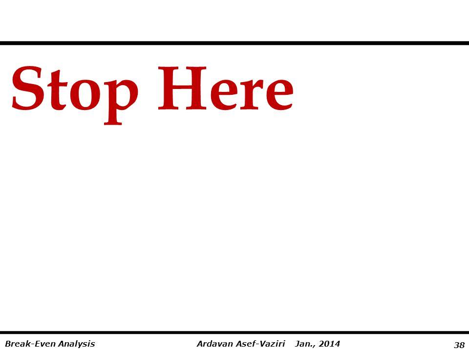 38 Ardavan Asef-Vaziri Jan., 2014Break-Even Analysis Stop Here