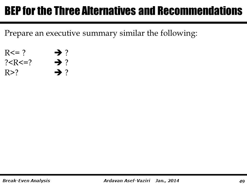 49 Ardavan Asef-Vaziri Jan., 2014Break-Even Analysis BEP for the Three Alternatives and Recommendations Prepare an executive summary similar the follo