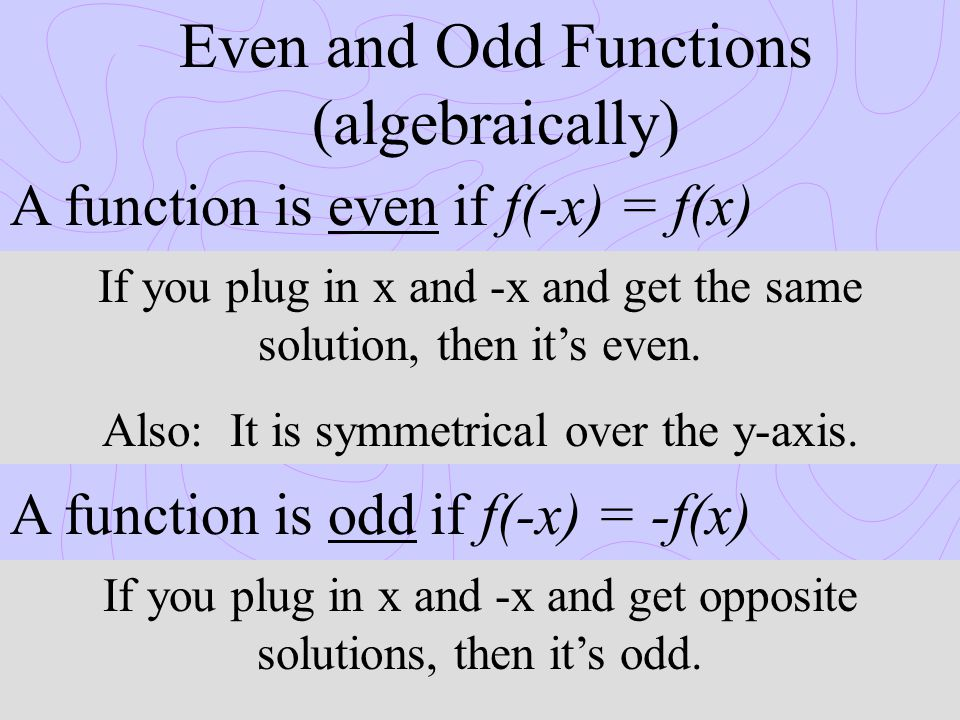 Even and Odd Functions (algebraically) A function is even if f(-x) = f(x) A function is odd if f(-x) = -f(x) If you plug in x and -x and get the same