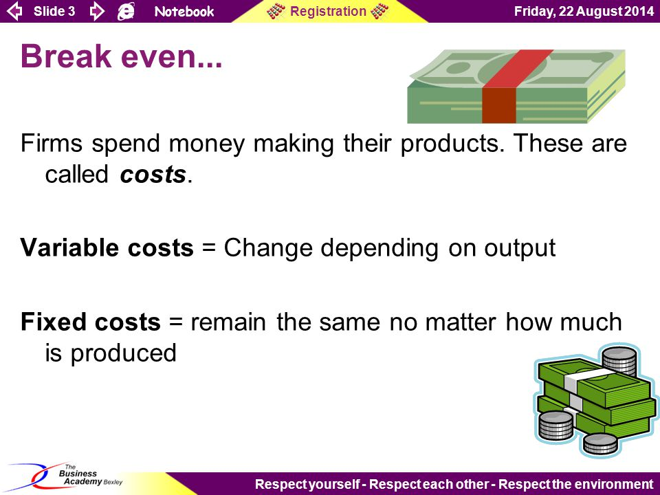 Slide 14 Notebook Friday, 22 August 2014Registration Respect yourself - Respect each other - Respect the environment Showing revenue on a graph Now add revenue to your graph....