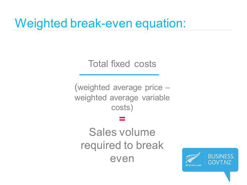 Weighted break-even equation: Total fixed costs ( weighted average price – weighted average variable costs) = Sales volume required to break even