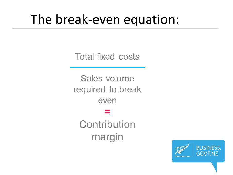 The break-even equation: Total fixed costs Sales volume required to break even = Contribution margin