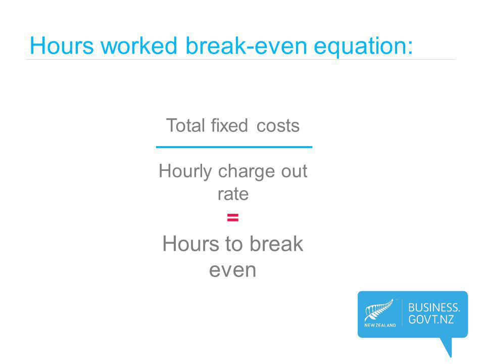 Hours worked break-even equation: Total fixed costs Hourly charge out rate = Hours to break even
