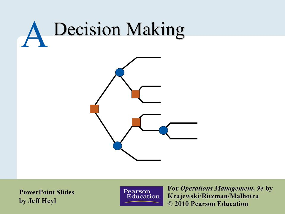 A – 1 Copyright © 2010 Pearson Education, Inc. Publishing as Prentice Hall. Decision Making A For Operations Management, 9e by Krajewski/Ritzman/Malho